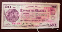 World Coins - Mexico, Oaxaca, September 1915, 20 pesos - printed on oil cloth