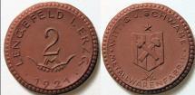 World Coins - German brown porcelain coin - Lengefeld, private issue - Wittig und Schwabe