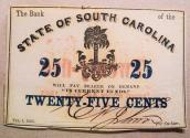 Us Coins - Charleston, SC - Bank of the State of South Carolina, 25 cents.  Feb 1, 1863