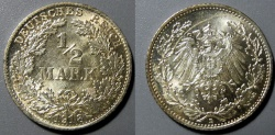 World Coins - German 1/2 Mark, brilliant uncirculated, 1918-D - attractive!!
