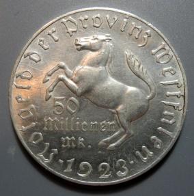 World Coins - German aluminum notgeld coin, Westphalia, 50 millionen marks