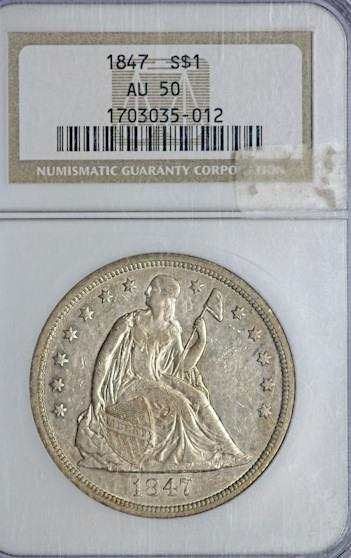 US Coins - 1847 Liberty Seated Silver Dollar AU-50 NGC