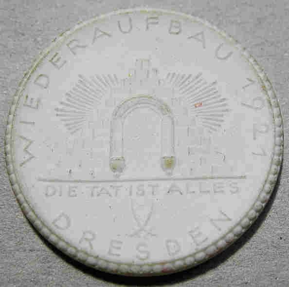 World Coins - German white porcelain medal / coin - VDHU - hotel association commem - 20 marks