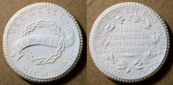 """World Coins - German white porcelain medal - Albert Schlageter - WWI """"insurgent"""""""