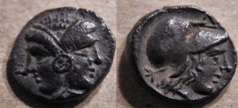 Mysia, Lampsakos, 4th-3rd century BC, AR diobol - Janiform heads / Athena