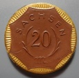 World Coins - German gold gilded brown porcelain coin - Saxony - 20 Mark