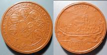 World Coins - German brown porcelain medal - porcelain coin -