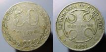 World Coins - Colombia, 1921, 50 centavos - Leper Colony money!