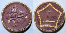 World Coins - German brown porcelain medal, gold gilt - Remembrance Battalion, Freiberg