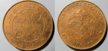 World Coins - Leper colony coin! Colombia, Bogota, 1901 - brass - 50 centavos, very scarce!