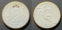 World Coins - German gold gilded white porcelain medal - gipsform - 1921, skiing
