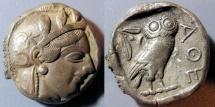 Ancient Coins - Attica, Athens, circa 450 BC - Athena / Owl, AR tetradrachm