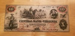 Us Coins - Obsolete banknote - Central Bank of Virginia, Staunton, 10$