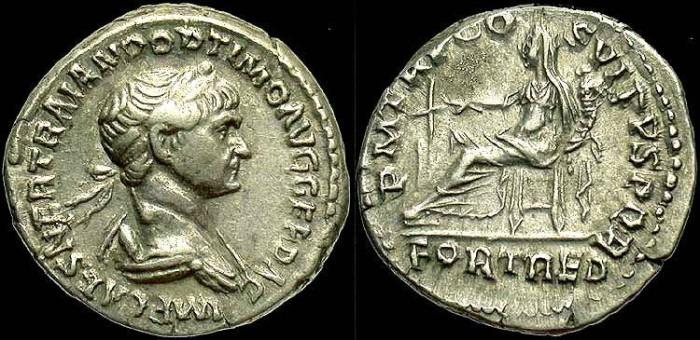 Ancient Coins - Trajan, AR Denarius, FORT RED Reverse, VF+ Portrait