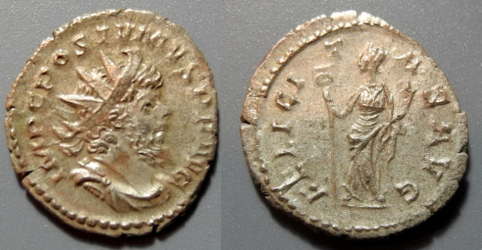 Ancient Coins - Postumus, AR antoninianus, 259-268 AD - FELICITAS AVG