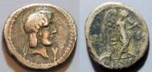 Ancient Coins - Roman Republic quinarius - L. Calpurnius Piso Frugi, 90 BC - Apollo / Victory