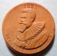 German orange brown porcelain medal - Rothenburg o.d. Tauber