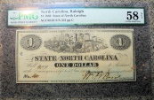 Us Coins - North Carolina Civil War Currency, 1863 $1, PMG Choice About Unc 58