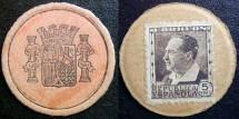 World Coins - Spanish Civil War, encased postage, 5 centimos
