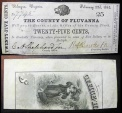 Us Coins - 1863 County of Fluvanna Palmyra VA 25 Cent Civil War Currency