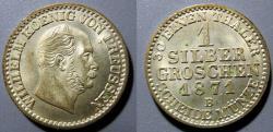 World Coins - Prussia, 1871-B 1 silver groschen - superbly attractive.  Wilhelm 1