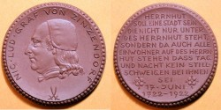 World Coins - German brown porcelain medal - Nicolas Ludwig von Zinzendorf - 1922