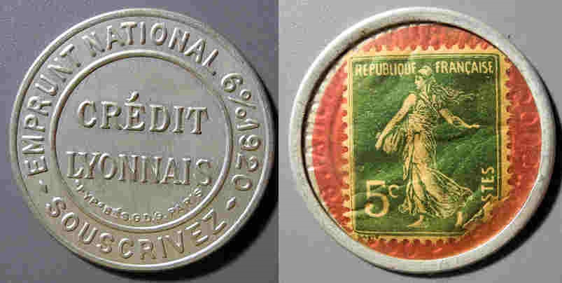 World Coins - French encased postage - Credit Lyonnais - 5 centimes