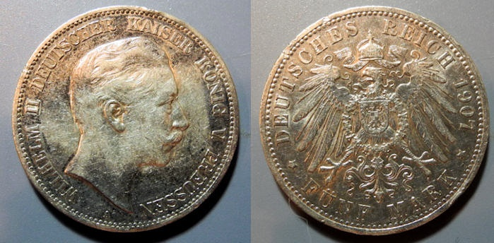 World Coins - GERMAN STATES: Prussia 1907-A 5 Marks - odd toning