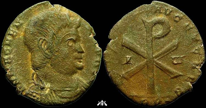 Ancient Coins - Magnentius, AE2 ot Trier, Great Christogram
