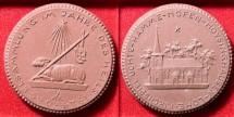 World Coins - German brown porcelain medal - lamb of God - Agnus Dei, representation of Christ