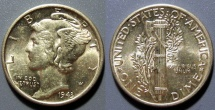 Us Coins - brilliant uncirculated 1943-P Mercury Dime