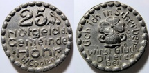 World Coins - German black porcelain coin - Hohr, Coblenz - 25 pfennig
