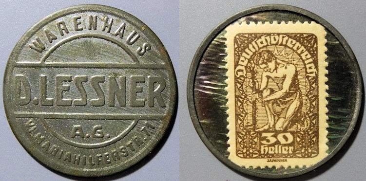 World Coins - scarce Austrian encased postage - Warenhaus D. Lessner - 30 pfennig