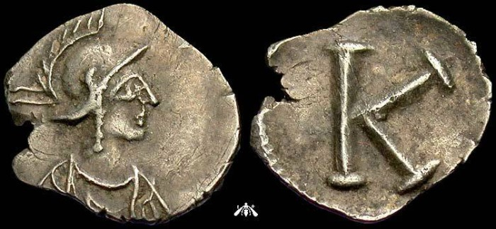 Ancient Coins - silver half siliqua - Constantinopolis - 5th - 6th centry AD - K on reverse