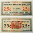 Us Coins - Depression scrip - Heppner Sheepskin Scrip - 25 cents