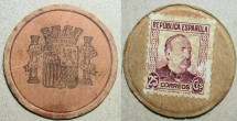 World Coins - Spanish encased postage, 25 centimos