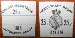 World Coins - German emergency money printed on llinen - Racot, grey, 25 pfennig