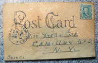 """World Coins - Interesting and curious leather postcard - """"There'll be fun we we get together"""" - early 1900s"""