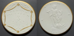 World Coins - very scarce German white porcelain medal - Regatta, July 3, 1921
