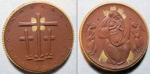 World Coins - German brown porcelain medal, gold gilded, Oberammergau