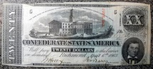 Us Coins - Confederate Currency, 20$, 1863, Richmond, uncirculated