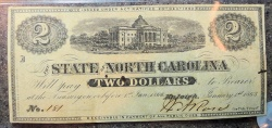Us Coins - North Carolina Civil War Currency, 1863 $2, PMG 50
