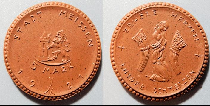 World Coins - German brown porcelain coin - Meissen, 5 Mark - 1921
