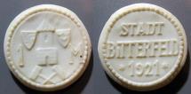 World Coins - German white porcelain coin - Bitterfeld, 1 Mark, non-Meissen manufacture