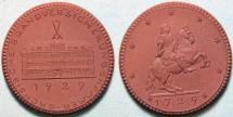 World Coins - German brown porcelain medal - Dresden, 1927 Sachsische Brandversicherungkammer