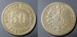 World Coins - Germany, 1876-C - silver 50 pfennig