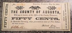 Us Coins - Civil War currency, County of Augusta, Stanon, VA - 50 cents