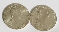 World Coins - 2 brilliant uncirculated (proof like) Maria Theresa silver thalers