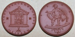 World Coins - German brown porcelain medal, 1922, Stadt Theater Baufond
