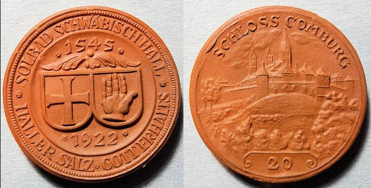 World Coins - German porcelain medal - non-Meissen, Schwabisch Hall, orange/red